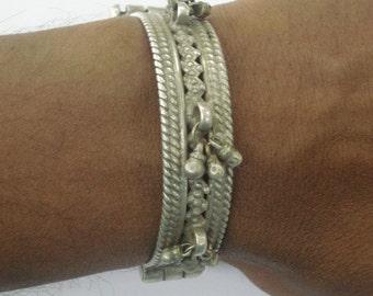 vintage old silver bangle bracelet antique tribal bellydance jewellery