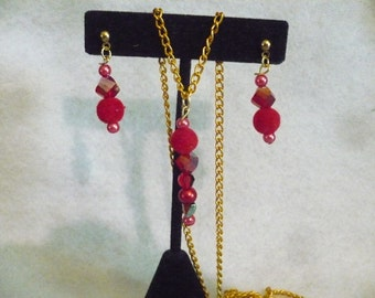 Red passion earring and necklace set