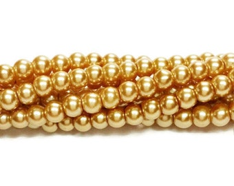 4mm gold glass round pearl beads, Beads for jewelry making, pearlescent beads, G200, 332a