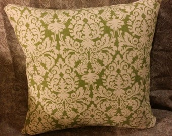 Zippered Pillow Cover - Damask in cilantro and white