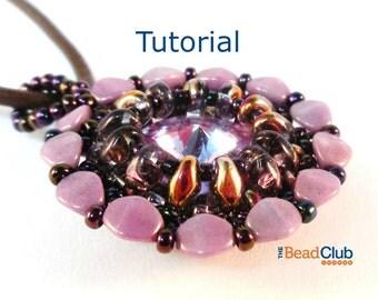 Superduo Bead Patterns - Beading Tutorials and Patterns - Beaded Pendant - Pinch Bead Patterns - Beadweaving Tutorial - Blossom Pendant