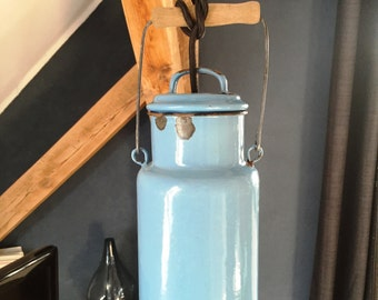 Vintage lamp enamel milk jug - light blue / vintage enamel lamp - light blue