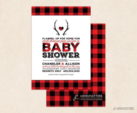 Lumberjack Baby Shower Invitation / Rustic by ...