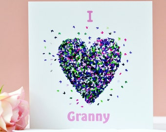 I Love Granny Butterfly Heart card, Granny Birthday card, Granny Mothers Day card, Granny Card, Romantic Granny card, Butterfly heart card