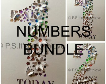 0-9 NUMBER BUNDLE Pop up Flowers, butterflies - SVG