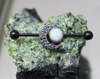 White Fire Opal Moon Goddess Scaffold/Industrial Piercing Barbell - UK Seller