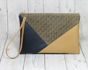 Black and gold clutch bag, Geometric clutch Vegan leather clutch leather wristlet gold bag, Envelope purse leather handbag, Evening clutch
