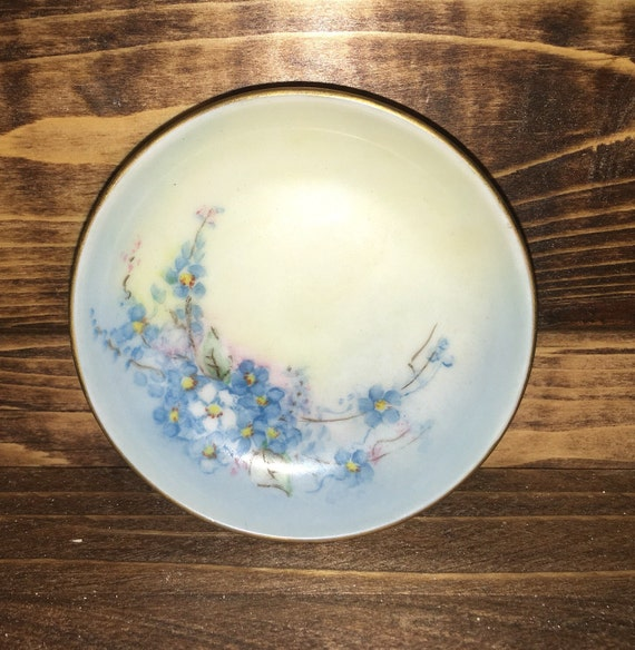 SAVE 25% WITH CODE: SAVE25 Arzberg Germany Miniature Collectible Porcelain Plate with Gold Rim and a Beautiful Blue Floral Pattern