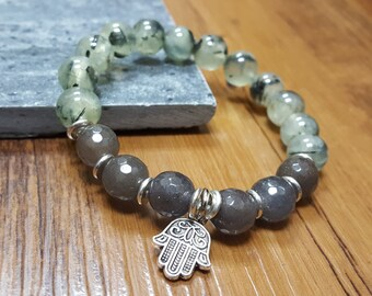 FREE SHIPPING, 10 mm Prehnite  bracelet, Faceted Grey Agate Bracelet, Hamsa hand bracelet,Mala bracelet