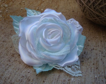 White Rose wedding satin flower accessory for hair,bridal hair accessory,bridal fascinator, prom and festive accessory,girl Hair Flower