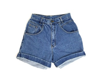 90s Blue Denim High Waisted Jean Shorts