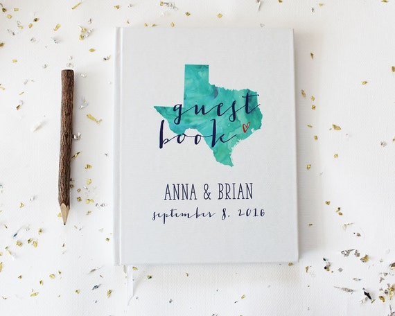 Watercolor State Wedding Guest Book,Personalized Wedding Guest Book, Any City or State • Custom Wedding Guestbook