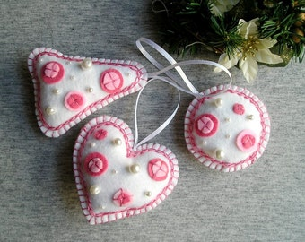 White pink Christmas tree ornaments, Felt ornaments, set of 3 pieces
