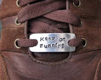 Personalised Trainer Tags (Pair) - aluminium shoelace tags - lace plates - Marathon runner Shoelace Charms, Runner Jewellery, customised