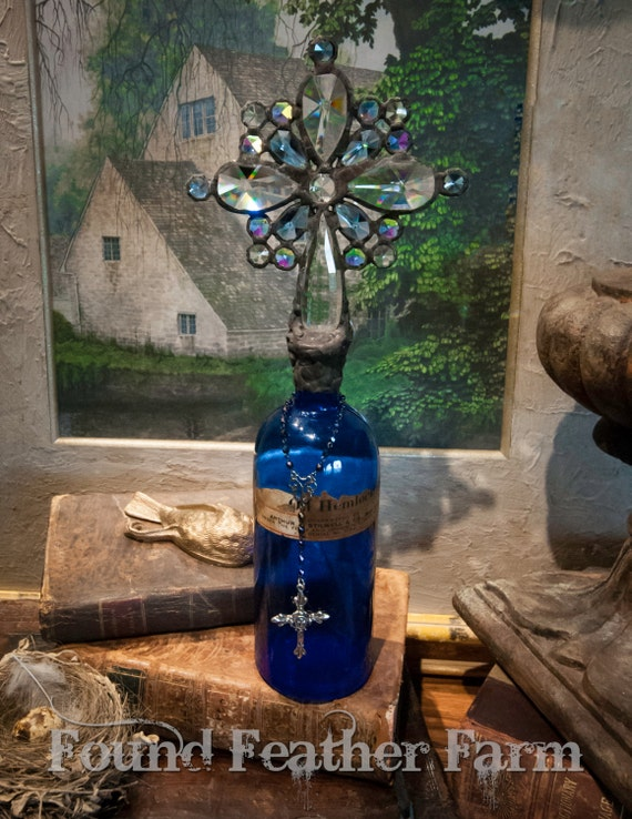 Handmade Glass Cross Bottle with an 1905's era Antique Stunning Cobalt Blue Glass Bottle Base