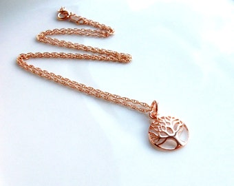Rose Gold Tree Of Life Necklace On A Rose Gold Filled Chain Gift For Her