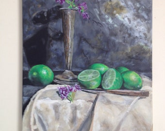 Original painting, acrylic painting, still life painting, limes and flowers in a vase, 14x18 inch stretched canvas
