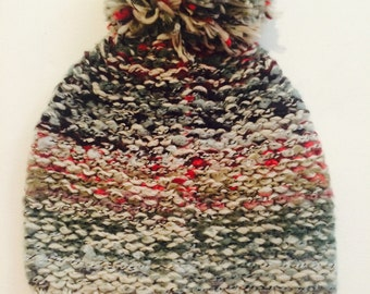 Multicolored Knit Hat with Pom Pom