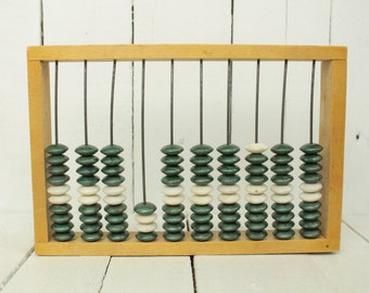 Vintage small Soviet wood abacus Russian calculator Wood kids toy Vintage office decor Primitive Abacus Wooden massager Child calculator