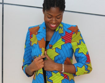 African print blazer jacket. Ankara fabric. Wax africain. Made in Ghana.