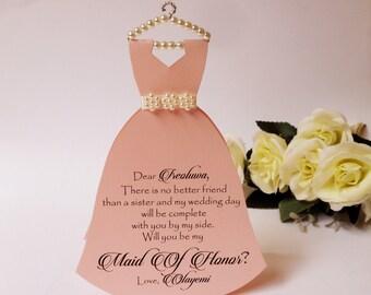 Bridesmaid Invitation Will you be my Bridesmaid Card Dress invitation Bridal Shower Flower girl Maid of honor Asking Bridesmaid Dress Card