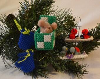 Plastic Canvas Ornament Set of 4 (Set 3)