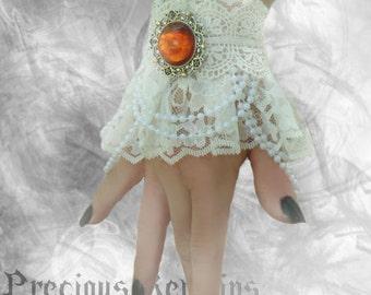 Ophelia Bracelets Pair White Lace Wrist Cuffs ~ Elegant Victorian Lolita Sweet Rococo Steampunk ~ Swarovski Bridal Cosplay Fairy