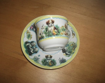 Vintage cup and saucer puppies dogs  lemon green cute