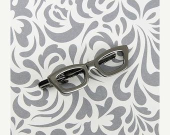 ON SALE Glasses Glass Wayfarer Tie Clip Silver Black Wedding Bar Clasp