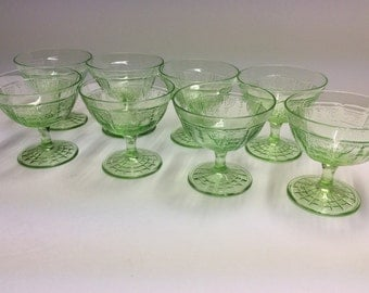 "8- Green Depression Hocking ""Princess "" Footed Sherbet Dishes 1931-35"