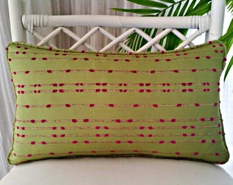 Chartreuse Green Magenta Fuchsia Pink Rope Stripe Pillow Cover - stripes, striped - green, pink, chartreuse, magenta, fuchsia