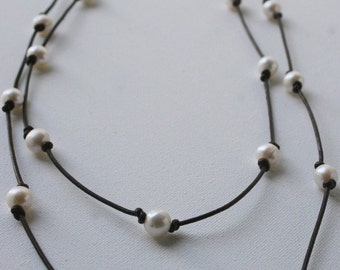 Extra Long Freshwater Pearl and Indian Leather Necklace