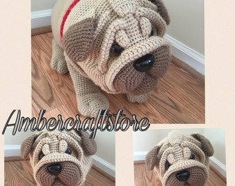Pug dog crochet pattern PDF. English USA