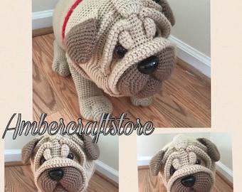 Pug dog crochet pattern PDF