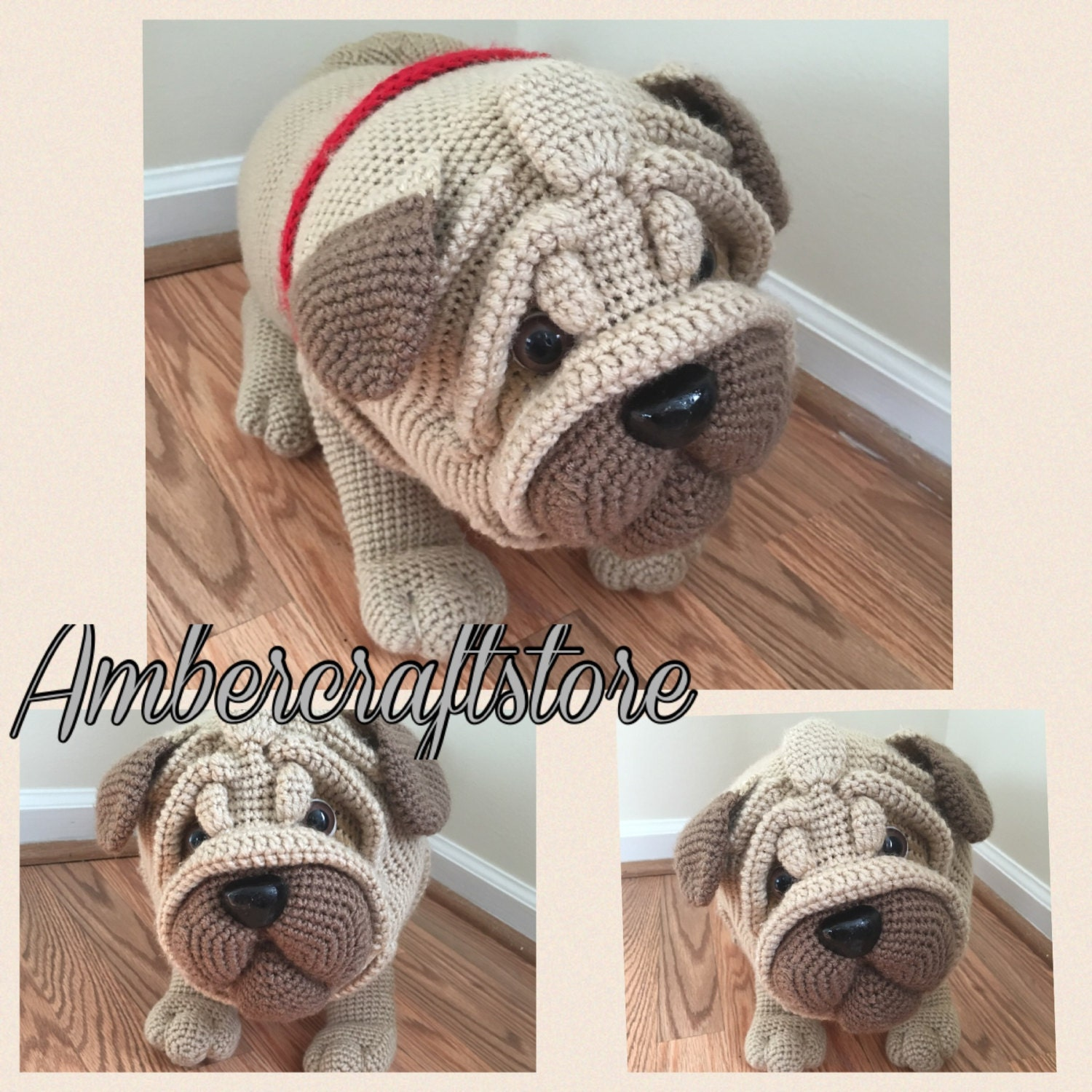 Free Crochet Pattern For Pug Dog : Pug dog crochet pattern PDF. English USA