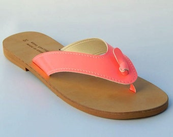 Greek Leather ( NEON) Sandals (38 - Neon pink)