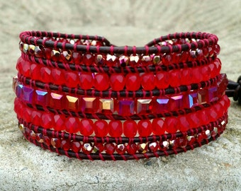 Red Hot, Five row Wrap Cuff Bracelet, Leather Wrap Bracelet, Wrap Cuff, Beaded Leather Wrap Bracelet, Beaded Leather Bracelet, boho Bracelet
