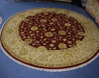 Beautiful hand knotted Silk Flower Round rug
