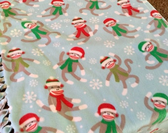 Sock Monkey Holiday Christmas Fleece Blanket