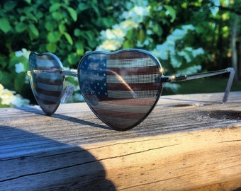 American Flag Heart Sunglasses