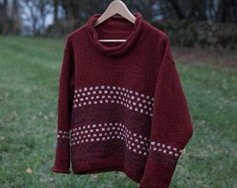 Knitting, minimalist, kit, handmade, wool, fair-isle, bottom-up, funnel neck, woman - BichesetBûches no. 42