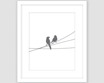 Birds on a Wire Print, White and Slate Dark Gray, Animal Wall Art, Modern Art, Instant Download, DIY, Printable