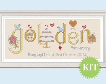Golden 50th Wedding Anniversary Customisable Cross Stitch KIT