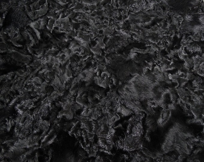 Black real fur plate Astrakhan Karakul pieces ideal for fur pillows F338