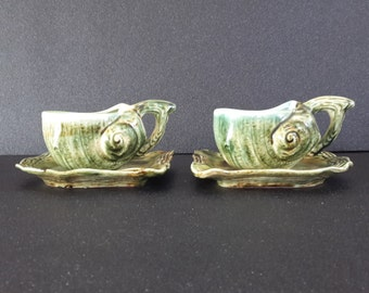 Set of 2 vintage french snail-shaped majolica cups and saucers, sea shells cups