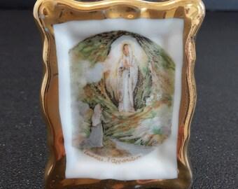 "vintage small Limoges porcelain standing plaque ""Lourdes"", personal altar"