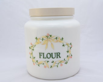 Milk glass flour jar, from the 1980s, 'Candlelight', Made in England, screw-on plastic lid