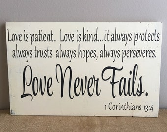 Love is patient love is kind - Love is patient wood sign - Wedding decor - 1 Corinthians 13-1 Corinthians wood sign - Wedding gift-