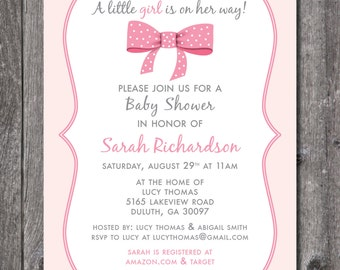 Printable Baby Shower Invitation, Girl Baby Shower, Pink, Bow