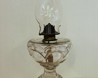 """Vintage EAPG Kerosene Lamp """"Peanut Pattern"""" Circa 1890"""